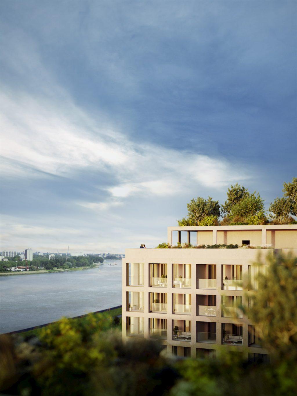 Spectacular view exterior rendering green terrace
