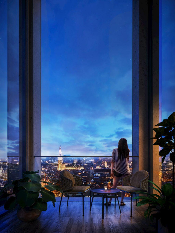 Spectacular bluish night view interior rendering glass window