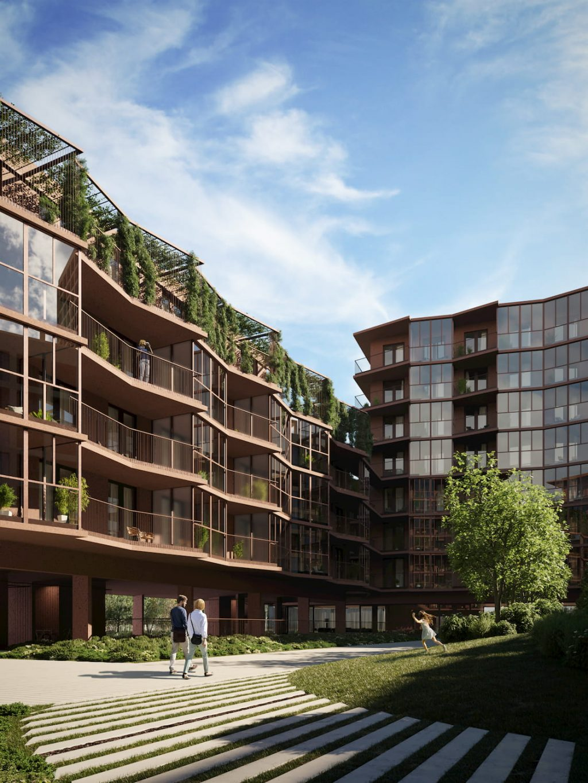 Robbrecht en Daem's Red-Stone Residential Building Sunshine Green Terraces Park