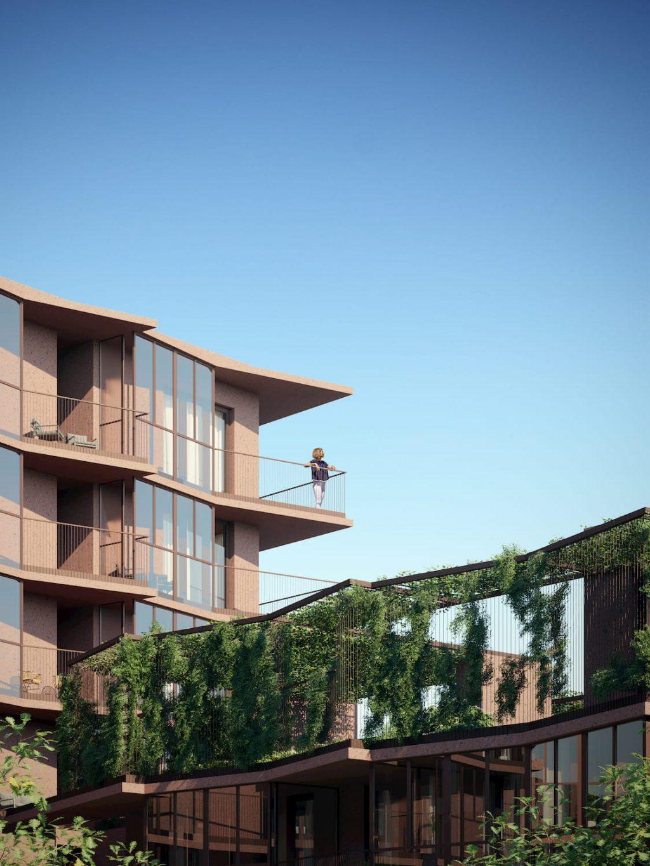 Robbrecht en Daem's Red-Stone Residential Building Terrace