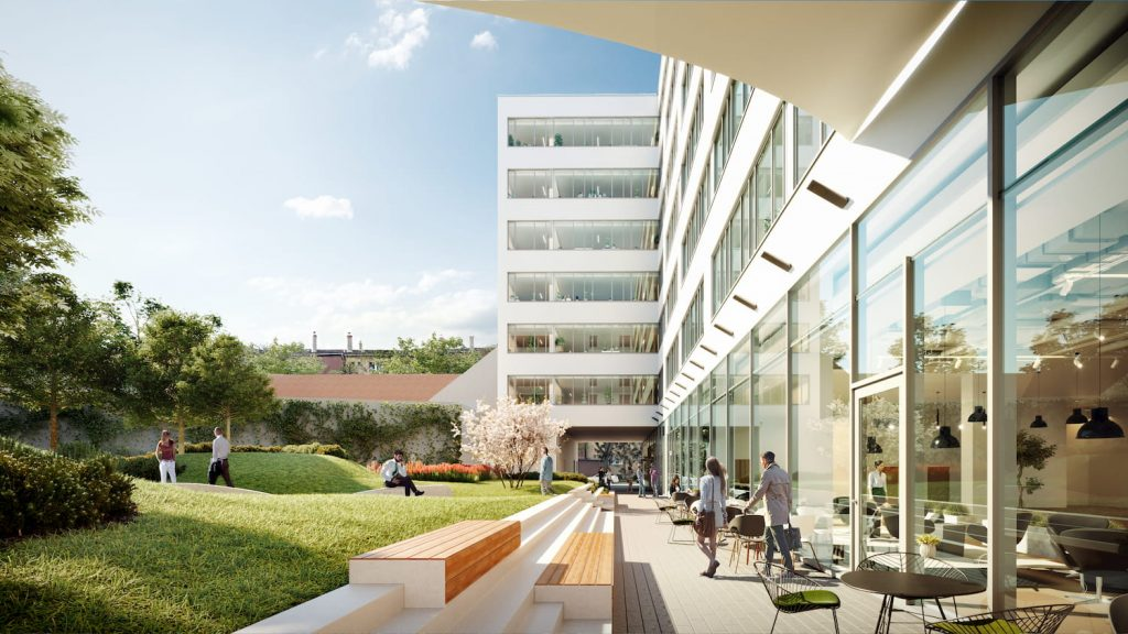Beautiful Architectural Renderings for Skanska Office Development Hungary Sunshine Light Workers Outdoor Park