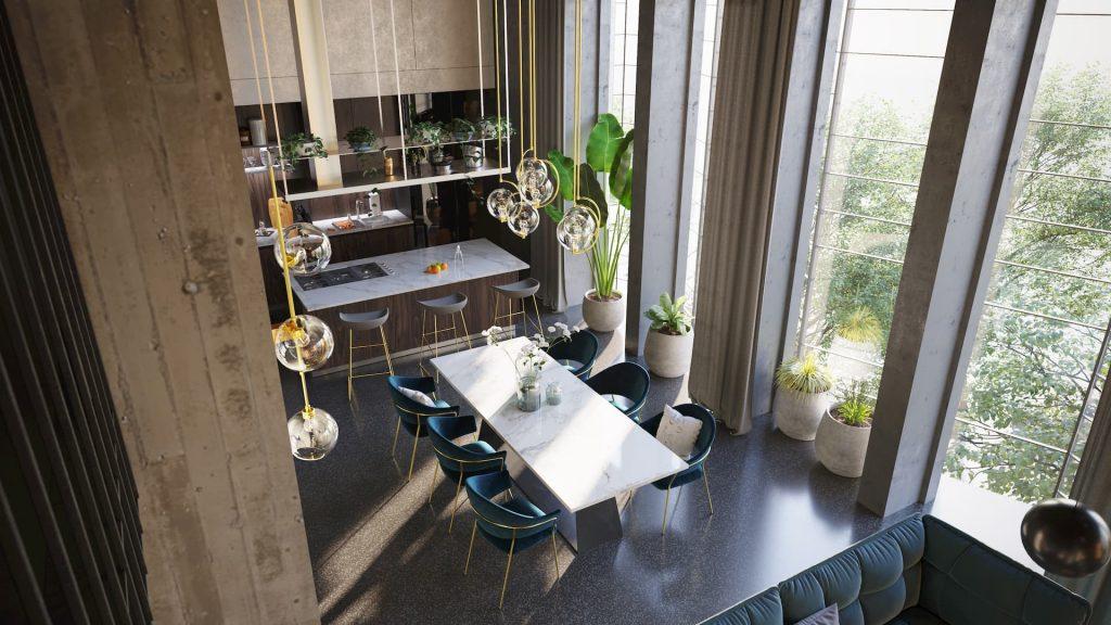 Luxury Real Estate Rendering Kitchen interior