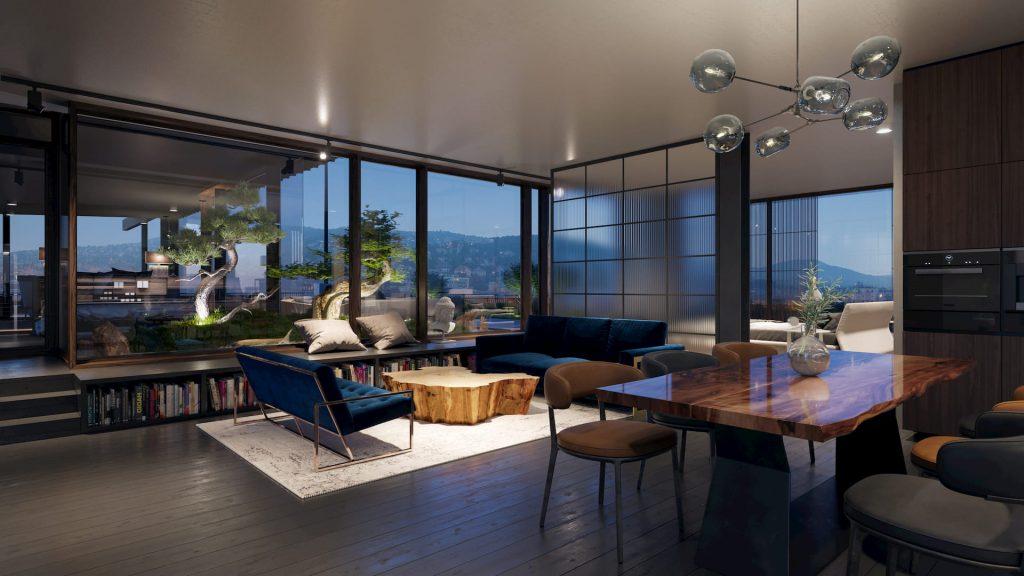 Architectural Visualization Luxury Residential Interior Night Design Furniture