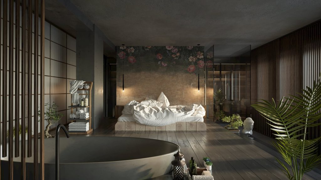 Architectural 3d Rendering Japanese interior