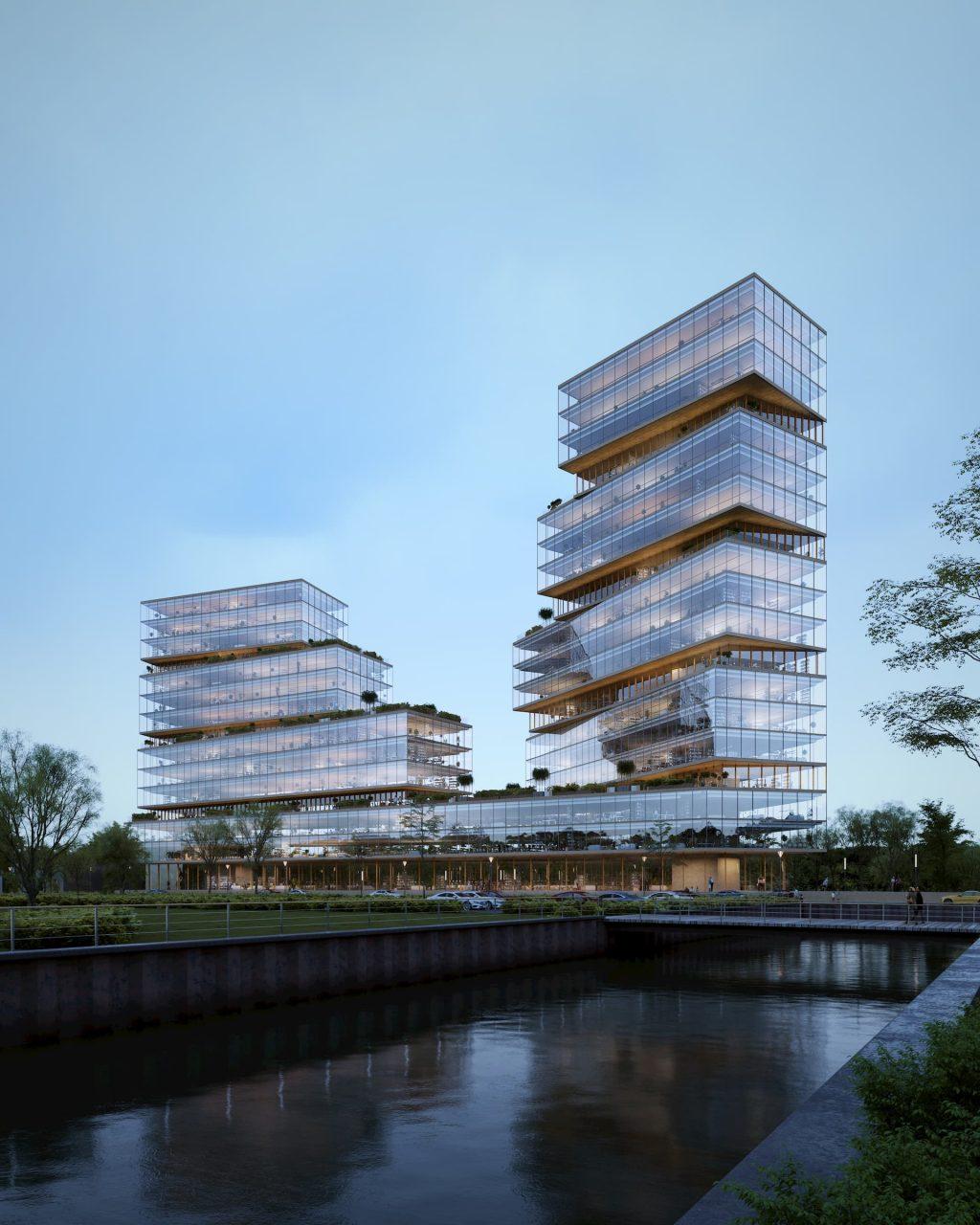 Office development building Amsterdam daylight glass transparent windows