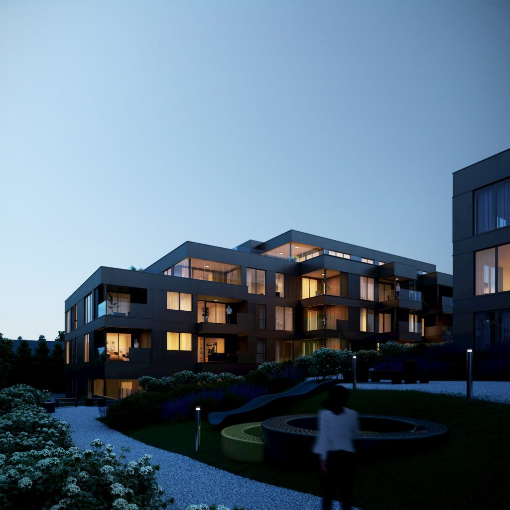 Residential Development Building in Norway Real Estate Night Warm light