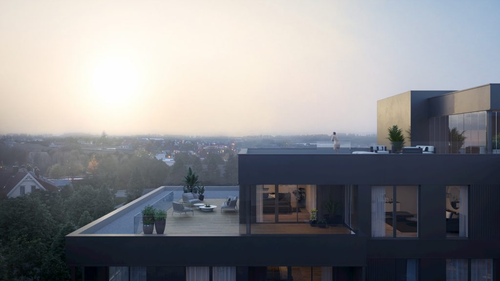 Residential Development Building in Norway Real Estate Foggy Morning Terrace