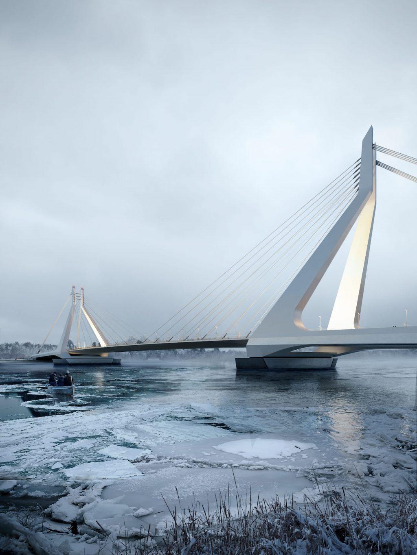 New Danube Bridge Budapest Winter Ice Danube River