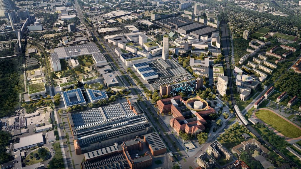 UNStudio new urban ecosystem Siemensstadt West Berlin Masterplan Aerial