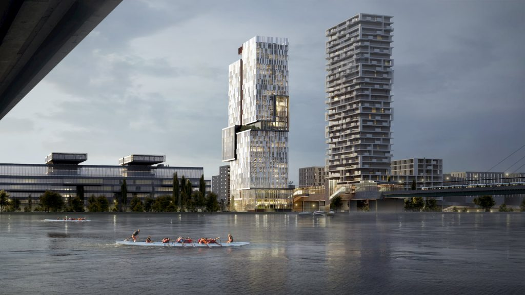 Donaumarina Tower High-Rise Commercial Building Development in Austria River Danube