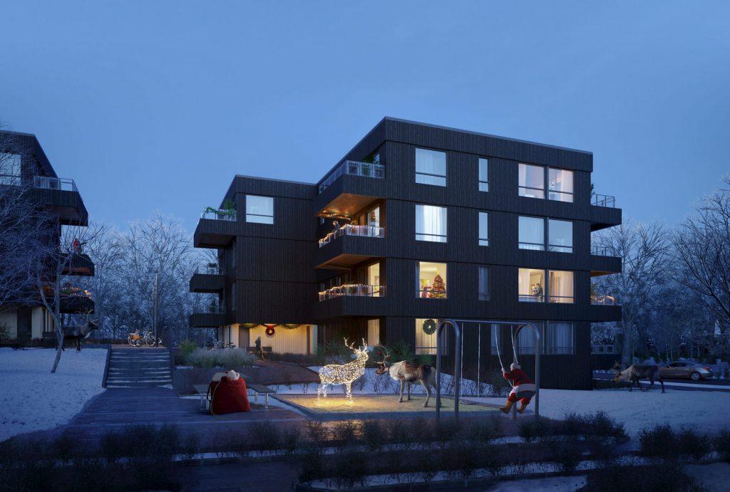 Architectural Visualization Reasidential Building Christmas Night Snow Santa Claus Raindeer