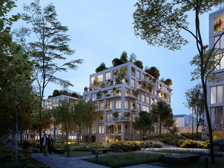 Early-evening architectural visualization for a residential building in Paris, France