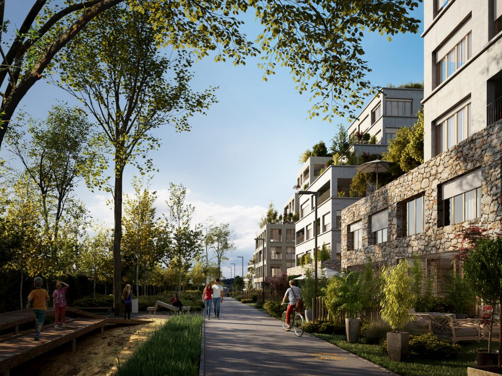 Sunny architectural visualization for a residential masterplan in Paris, France