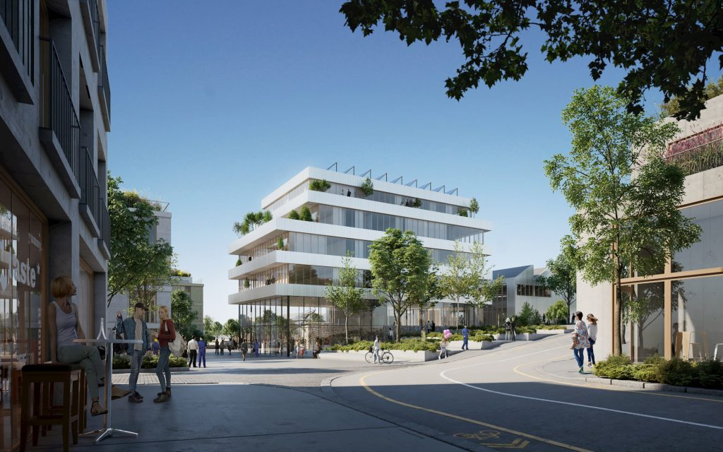 Sunny architectural visualization for a building in Paris, France