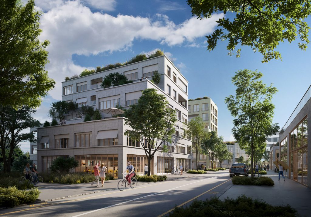 Sunny architectural visualization for a residential building in Paris, France