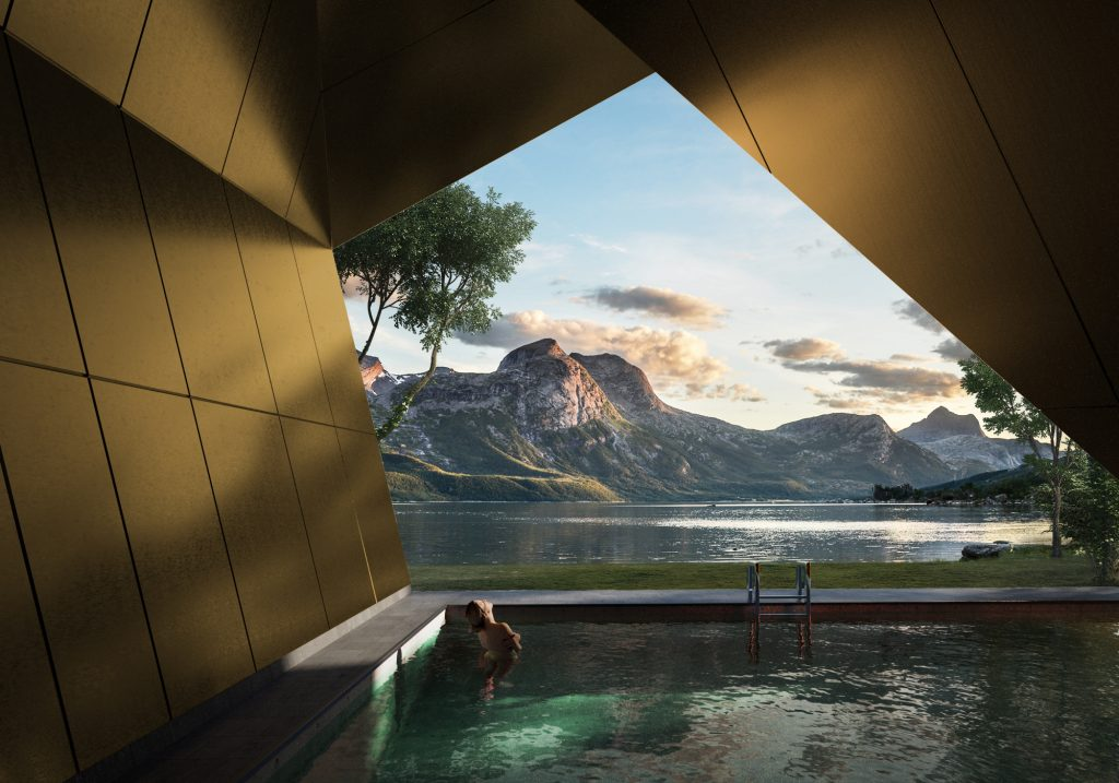 Gold material pool mountain lake architectural visualization