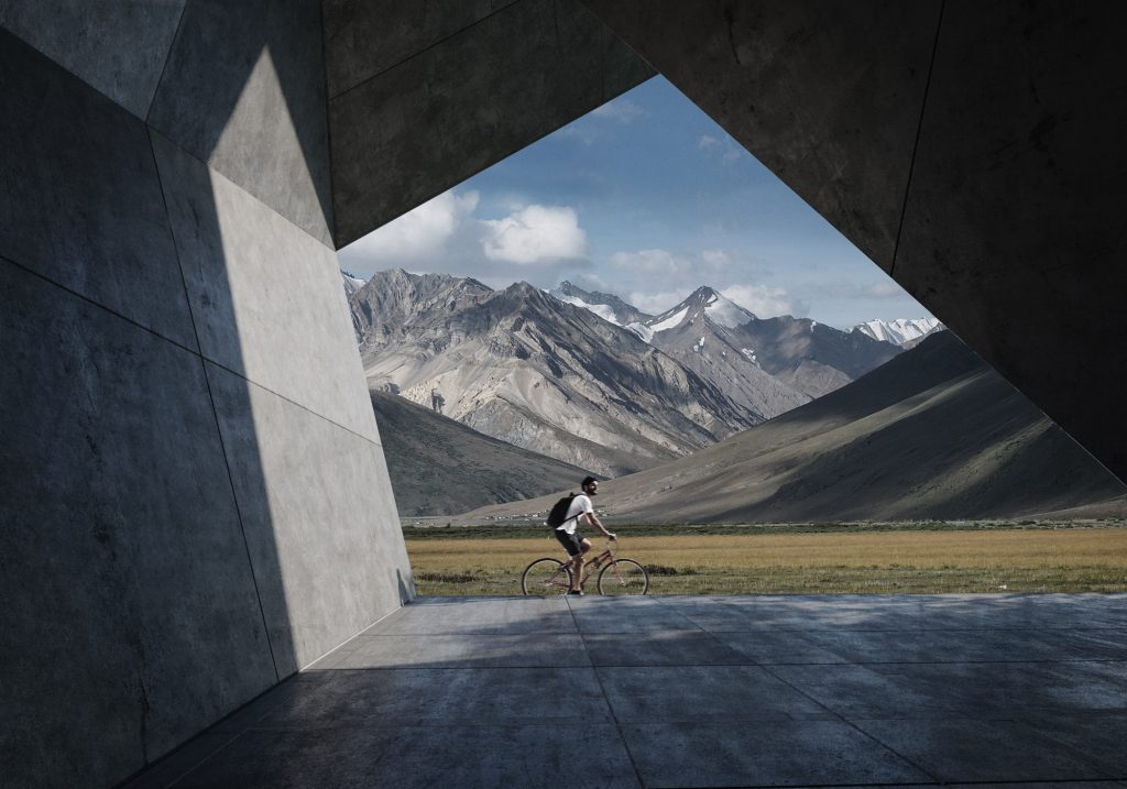 Mountain biking concrete architectural visualization matte painting