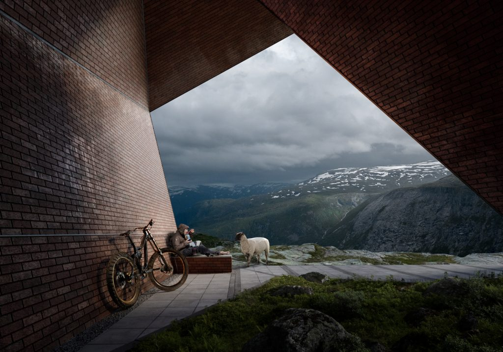 Mountain goat bike architectural visualization matte painting