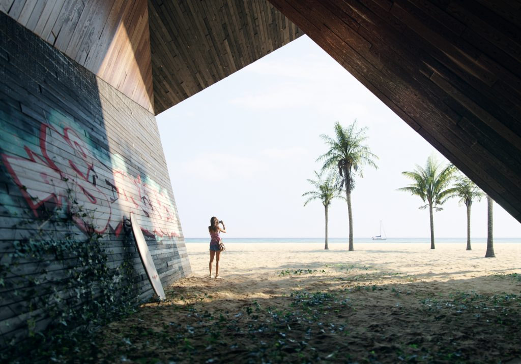 Sea sand beach surf architectural visualization matte painting