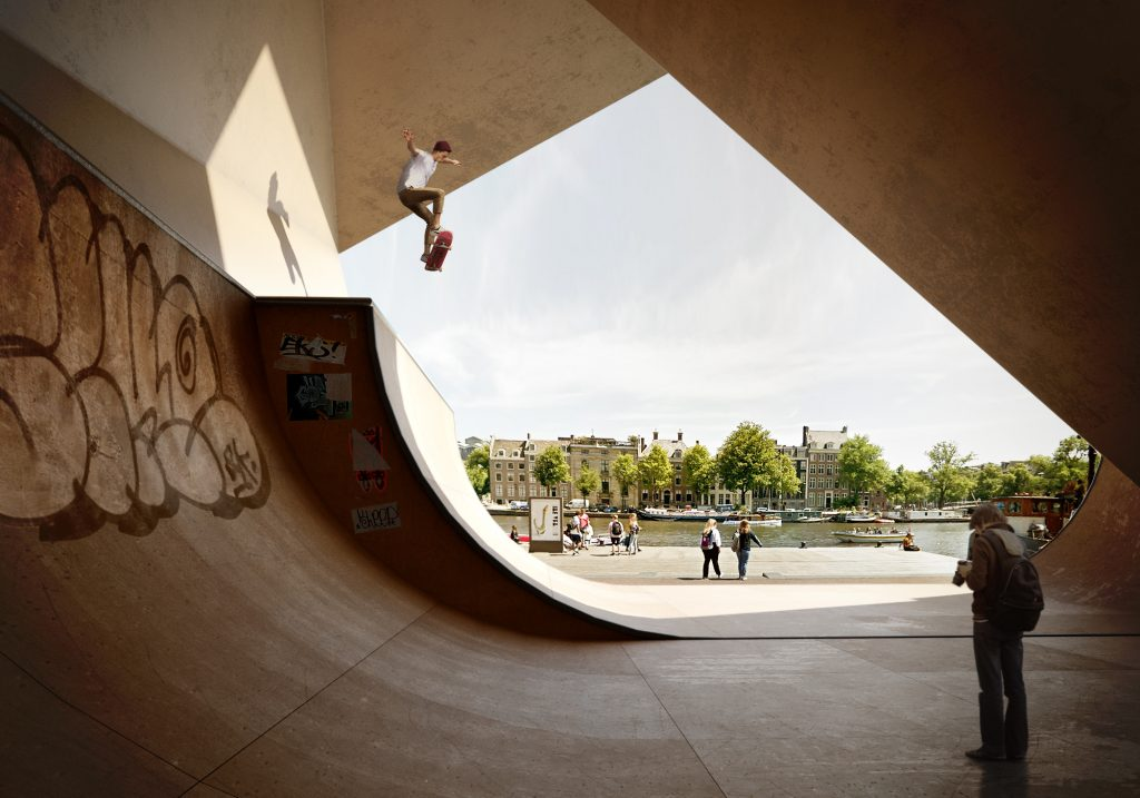 Skate park architectural visualization matte painting