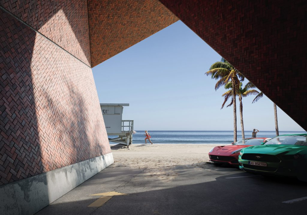 Sea sand beach sport car architectural visualization matte painting