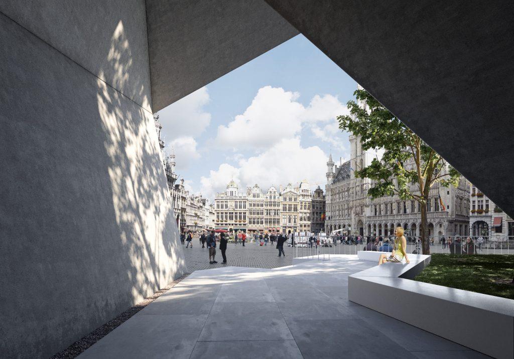 City main square concrete architectural visualization matte painting
