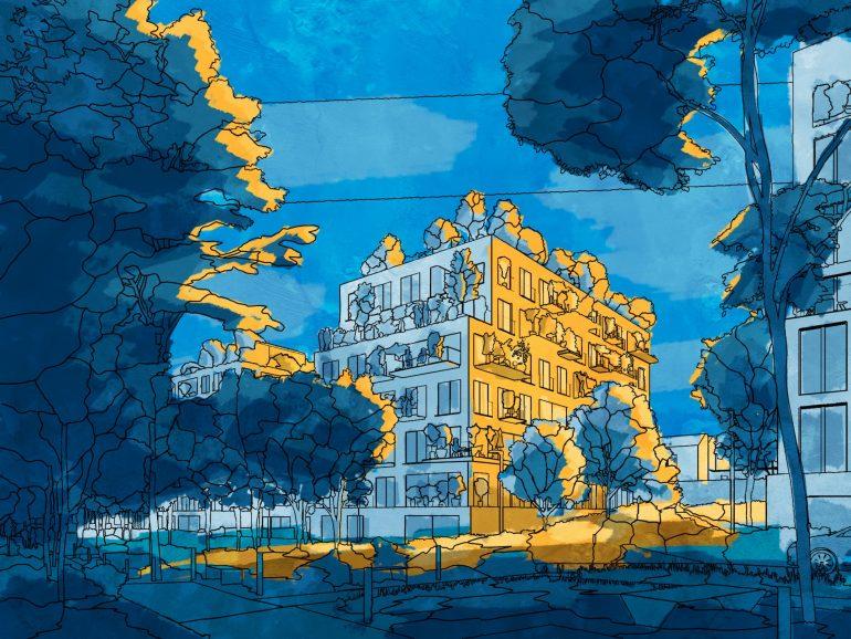 Les Simonettes Residential Development Night Blue Yellow