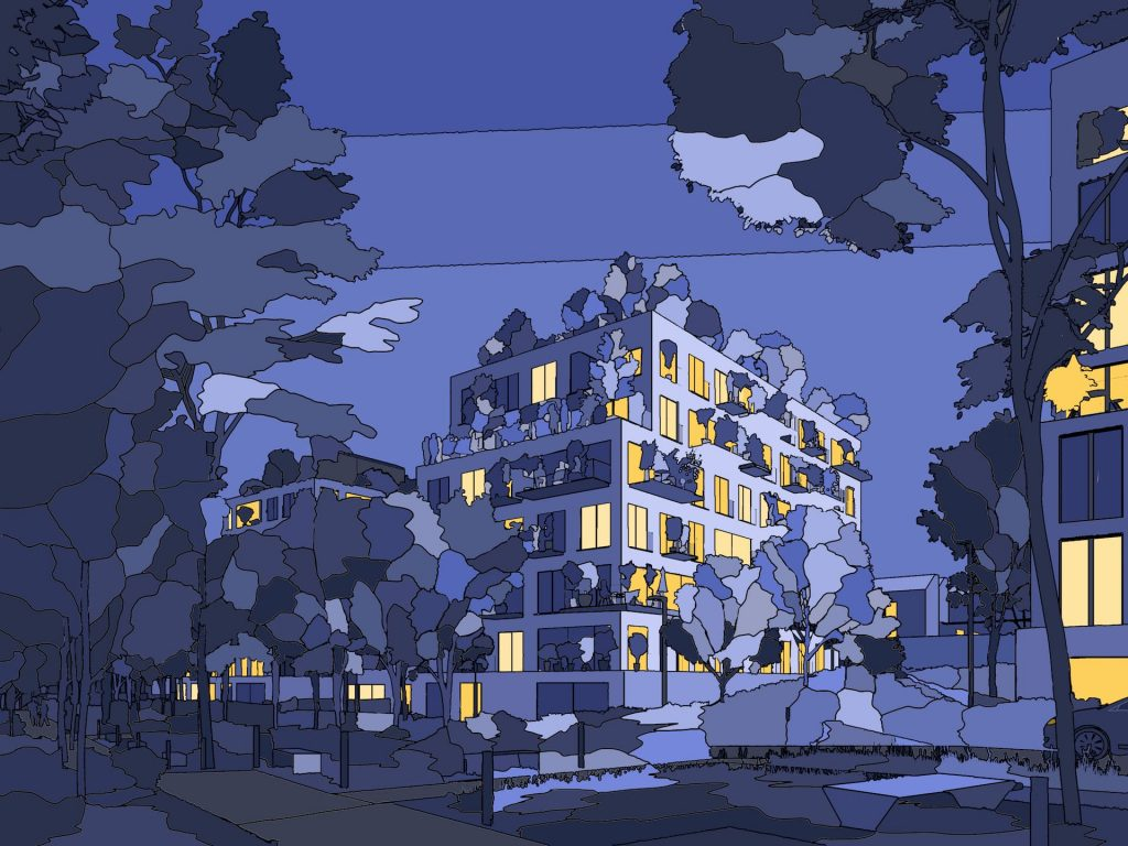 Les Simonettes Residential Development Blue Yellow