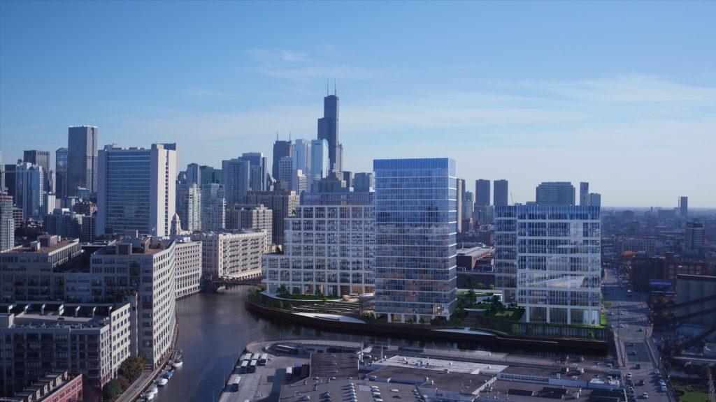700 West Chicago Office Development Daylight Rendering