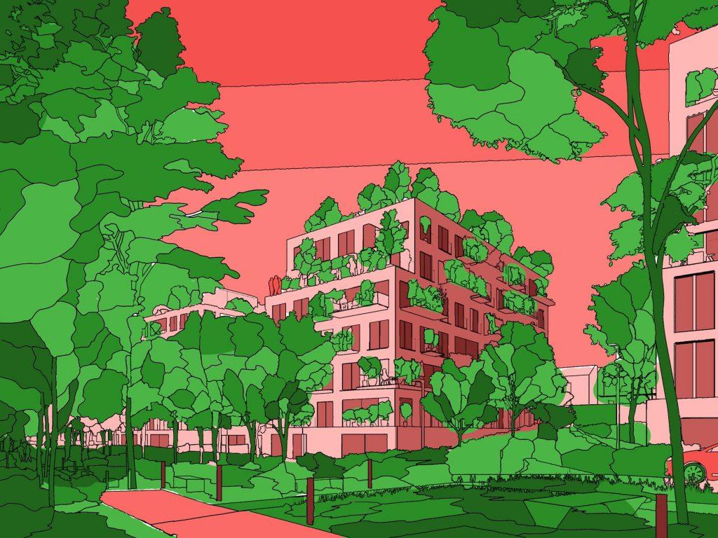 Les Simonettes Residential Development Pink Green