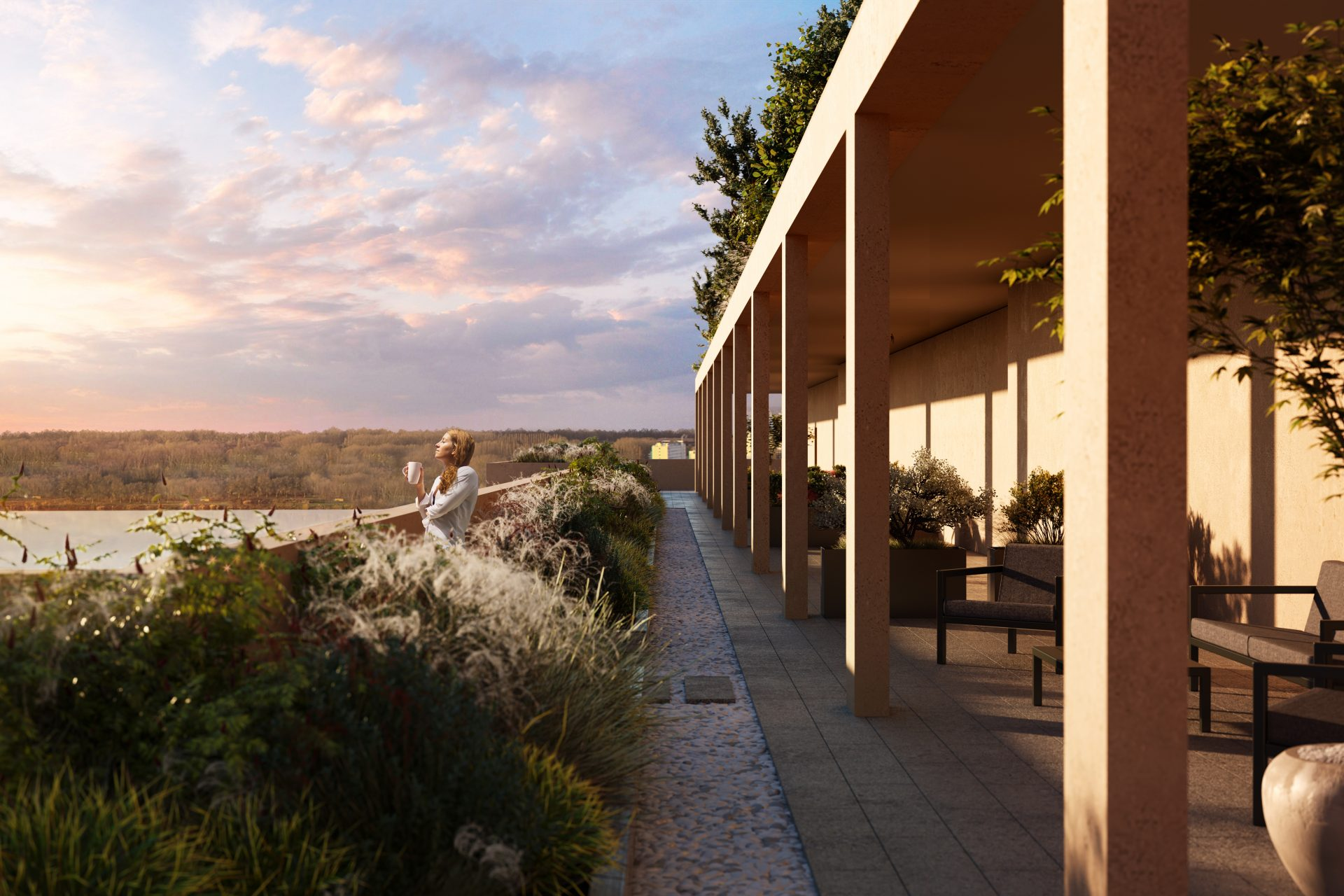 Spectacular view architectural rendering terrace coffee