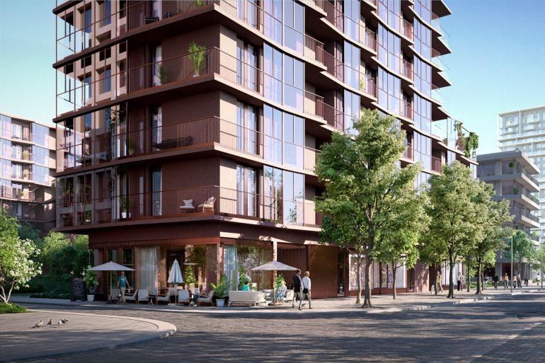 Robbrecht en Daem's Red-Stone Residential Building Entrance Street View