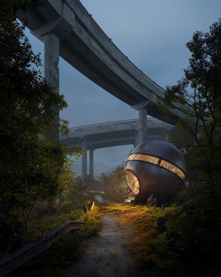 UNEXPECTED LANDING Under the bridge night warm light