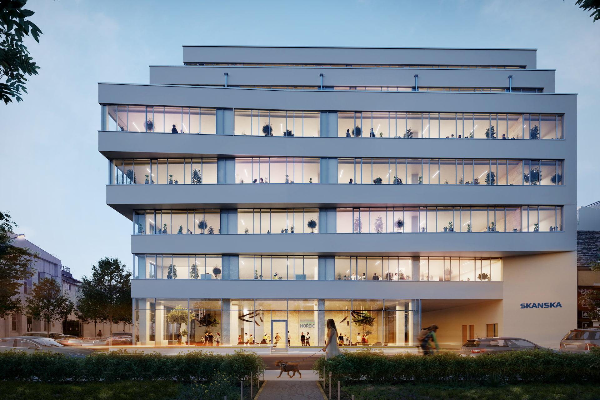 Beautiful Architectural Renderings for Skanska Office Development Hungary Night Warm Light