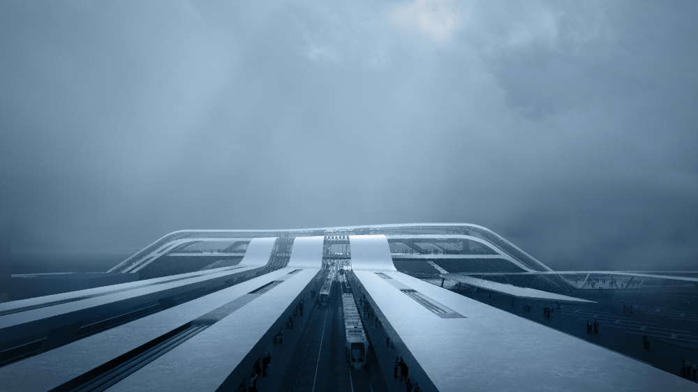 Amazing architectural visualization project for Rail Baltica alongside Zaha Hadid Architects Sketch Cloudy Storm