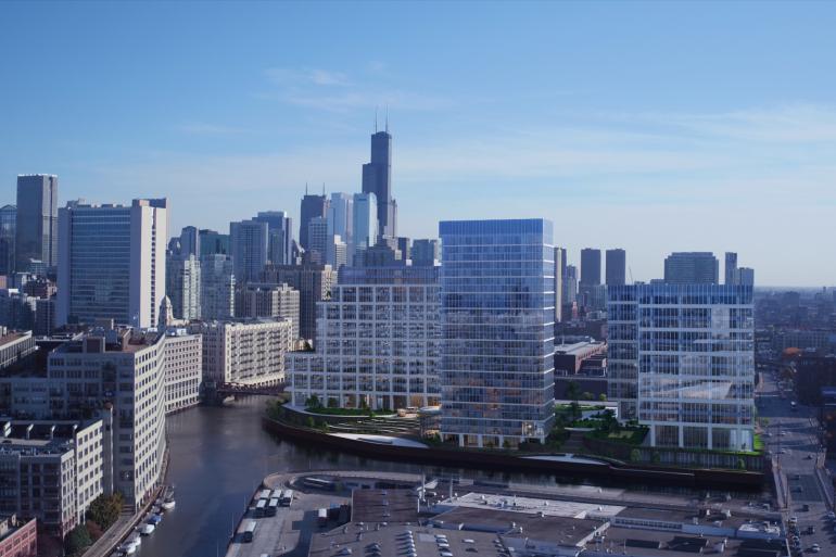700 West Chicago Office Development Sunshine Rendering City Aerial