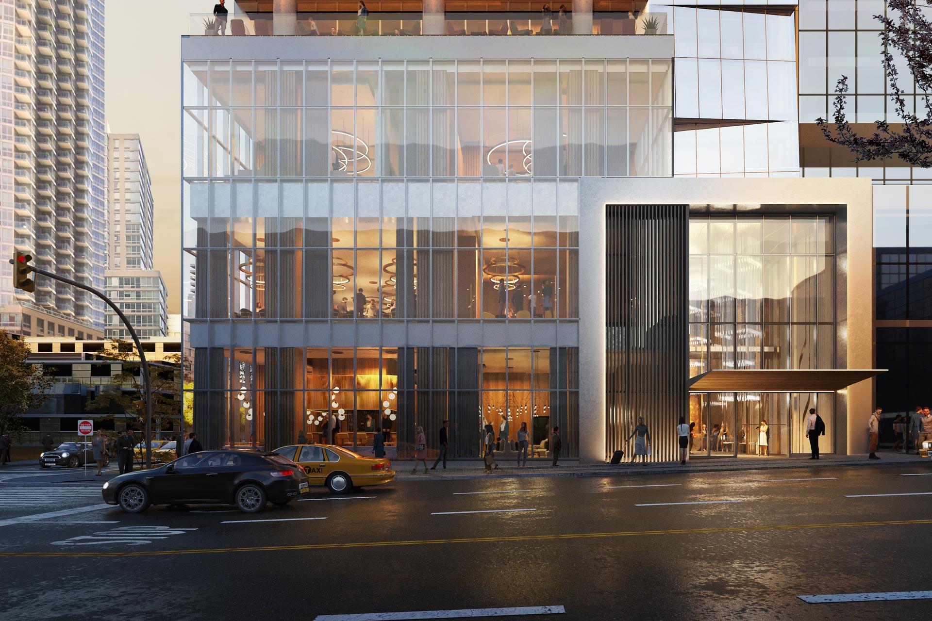 Manhattan Midtown Hotel Entrance Dusk DSM Design Group