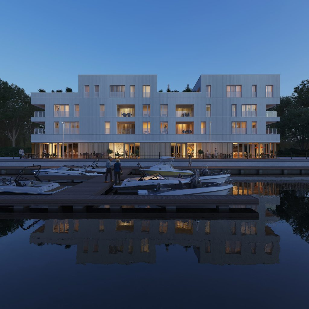 Neo Legia Rives Ardentes Residential Development Liége Belgium boats waterfront night