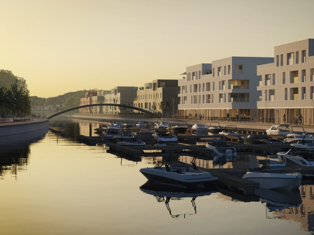 Neo Legia Rives Ardentes Residential Development Liége Belgium boats river sunset